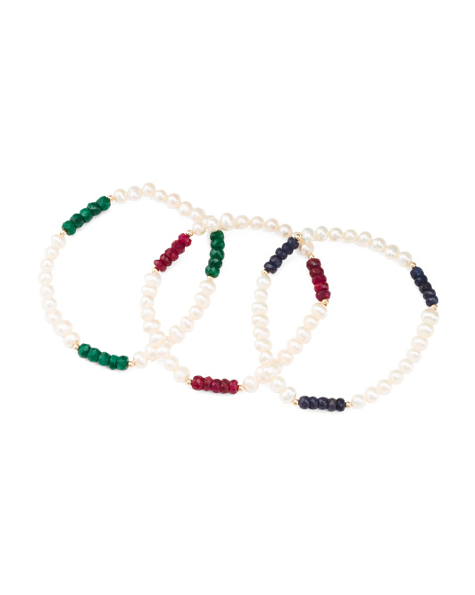Made In Usa 14k Gold Set Of 3 Pearl Ruby Emerald Sapphire Bracelets