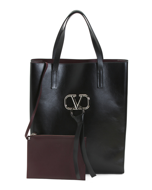 Made In Italy V Ring Leather Tote