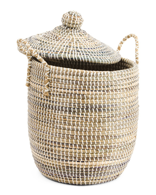 Seagrass Hamper With Lid And Handles
