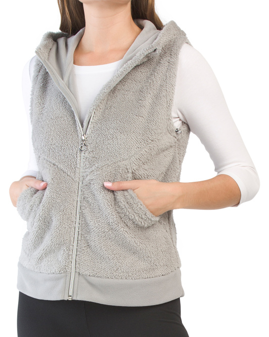 Faux Sherpa Hooded Vest