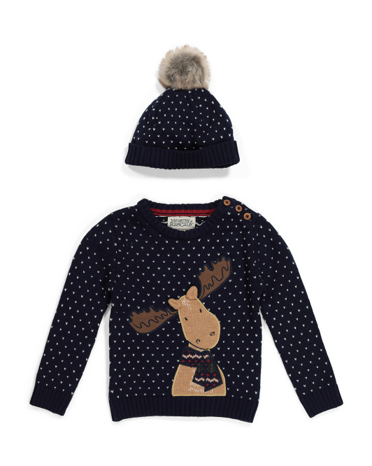 Infant Boys Moose Pullover Sweater With Hat
