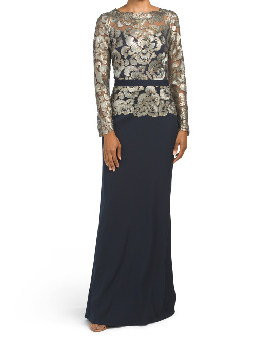 Long Sleeve Lace Crepe Gown
