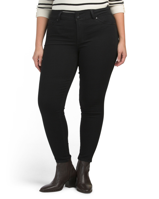 Plus Comfort Fit High Rise Roll Cuff Skinny Jeans