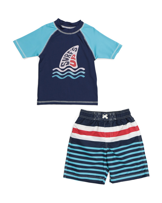 Little Boys Surfboard Rash Guard Swim Set