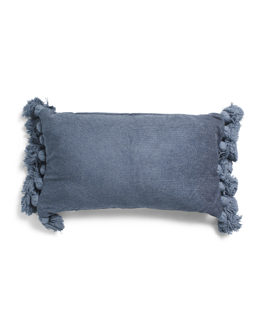 14x24 Soft Chenille Tassle Pillow