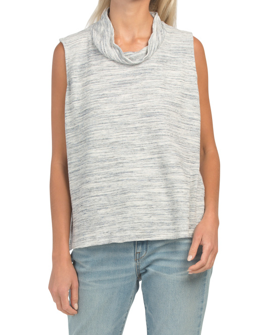 Cowl Neck Heathered Pima Cotton Blend Top