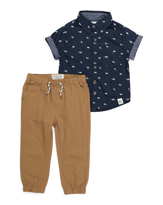 Toddler Boy Woven Shirt And Joggers Set