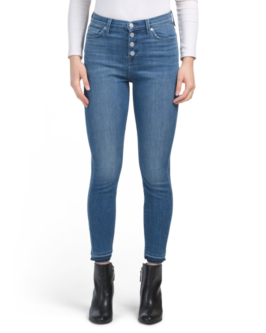 Stacked Button High Waist Ankle Skinny Jeans