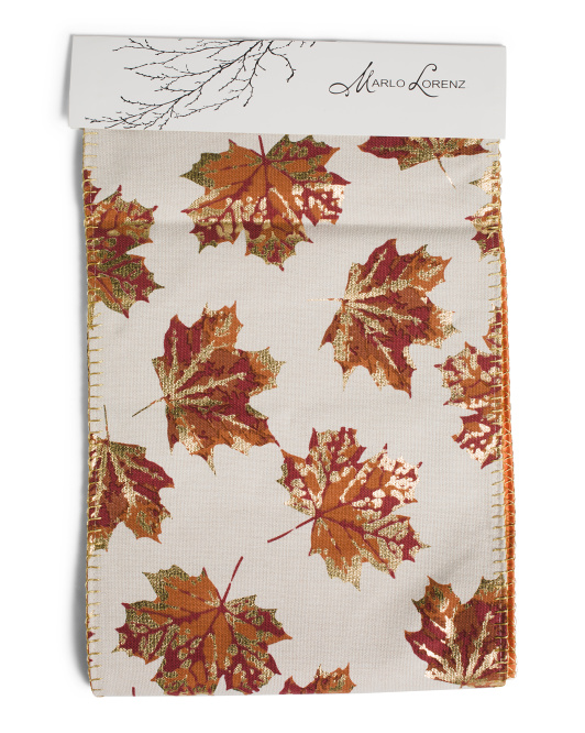 14x72 Filomena Leaf Whipstitch Franco Table Runner