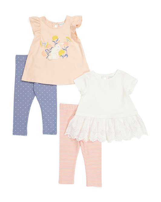 Infant Girls 4pc Bunny Mix & Match Leggings Set