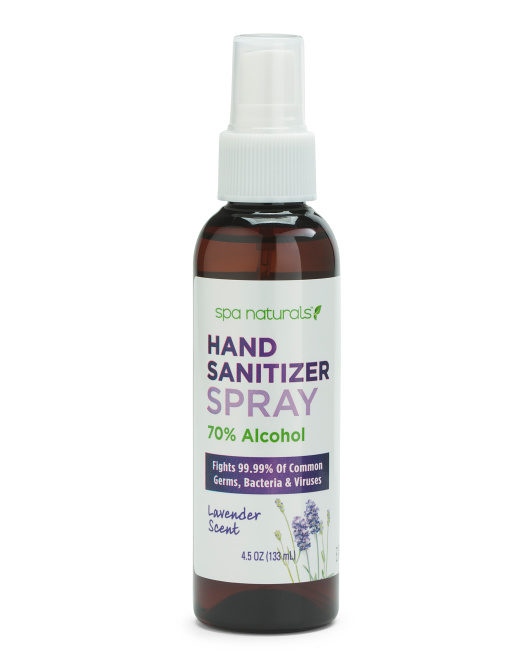 4.5oz Spa Naturals Hand Sanitizer Spray