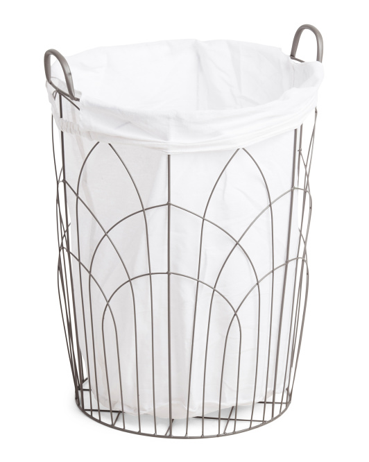 Medium Embroidered Round Metal Hamper