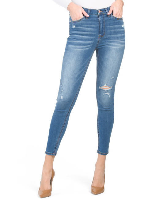 Juniors High Rise Ankle Skinny Jeans