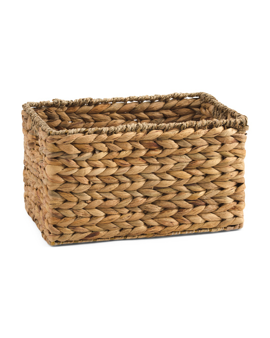 Small Water Hyacinth Basket With Seagrass Border