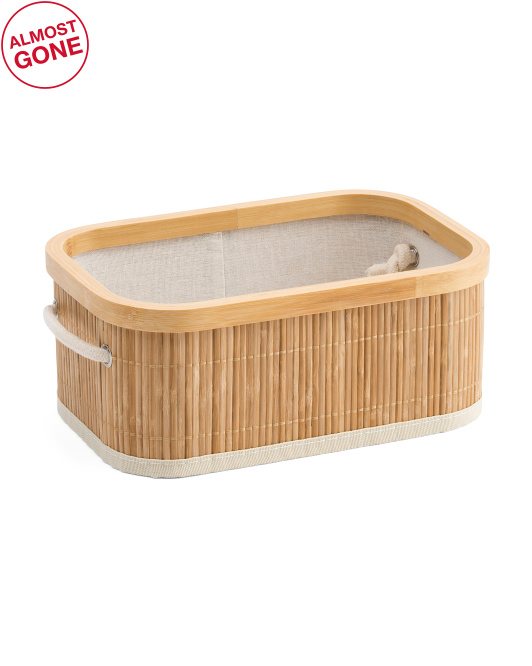 Small Bamboo Open Bin With Linen Liner