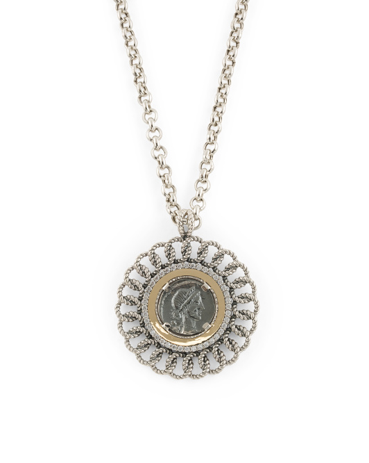 Made In Portugal 14k Gold Sterling Silver Cz Coin Necklace