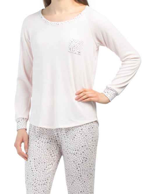 Hacci Long Sleeve Raglan Tee With Joggers Pj Set