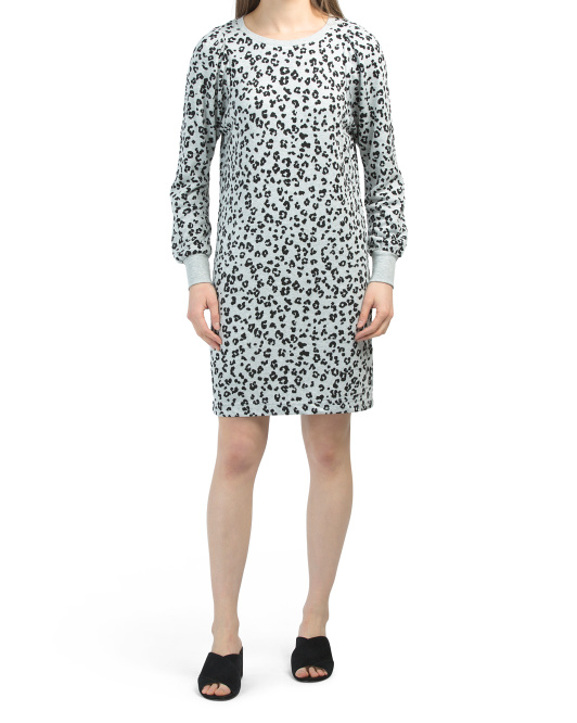 Printed Cozy Fleece Dress With Cuffs