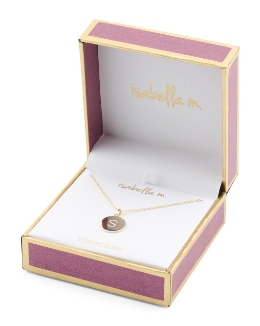 Boxed 14k Gold Plated Sterling Engraved Initial Necklace