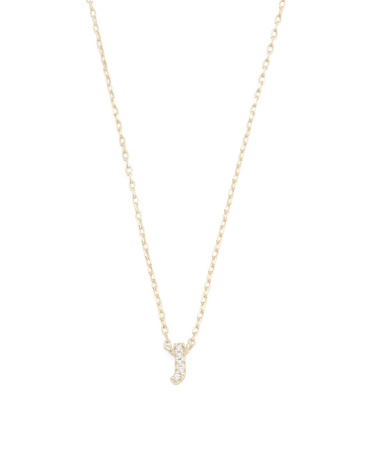 Boxed 14k Gold Plated Sterling Silver Cz Initial Necklace