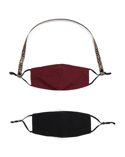 Adult 2pk Smooth Fit Masks With Leopard Lanyard