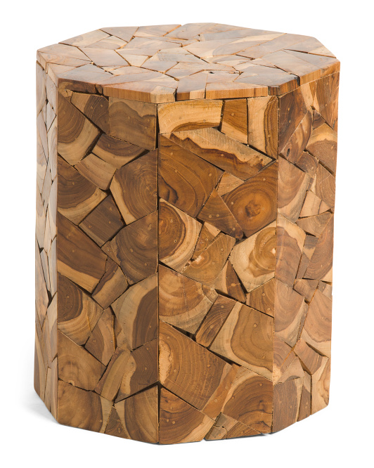 Wooden Patchwork Teak Stool