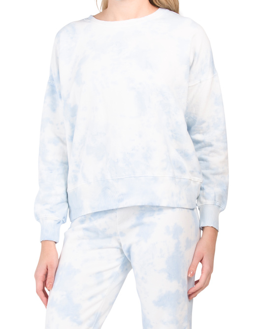 Tie Dye Crew Neck Pullover Top