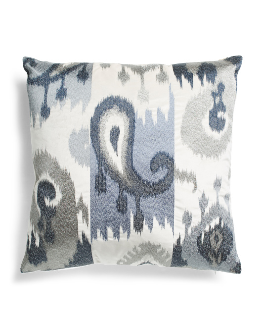 22x22 Velvet Embroidered Ikat Pillow