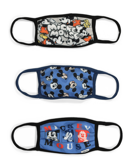Kids 3pk Mickey Mouse Blues Face Masks