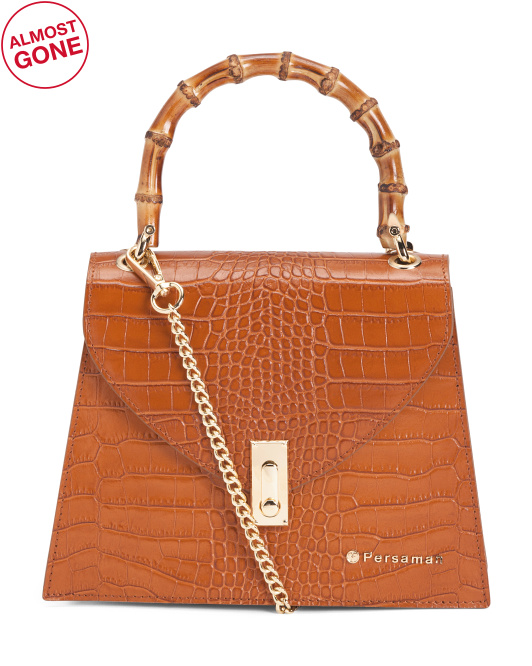 Made In Italy Leather Bamboo Handle Croc Print Satchel