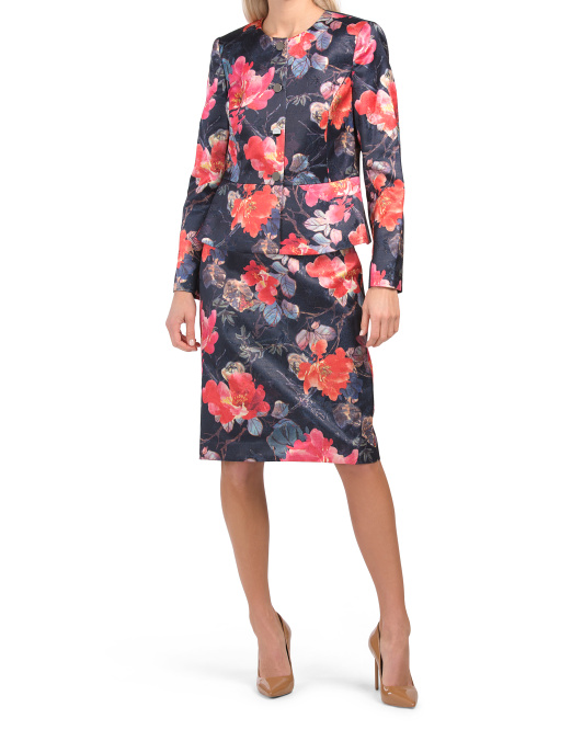 Nested 4 Button Jacket And Pencil Skirt