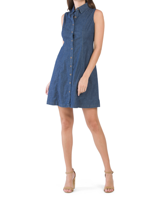 Diana Denim Sleeveless Short Shirt Dress
