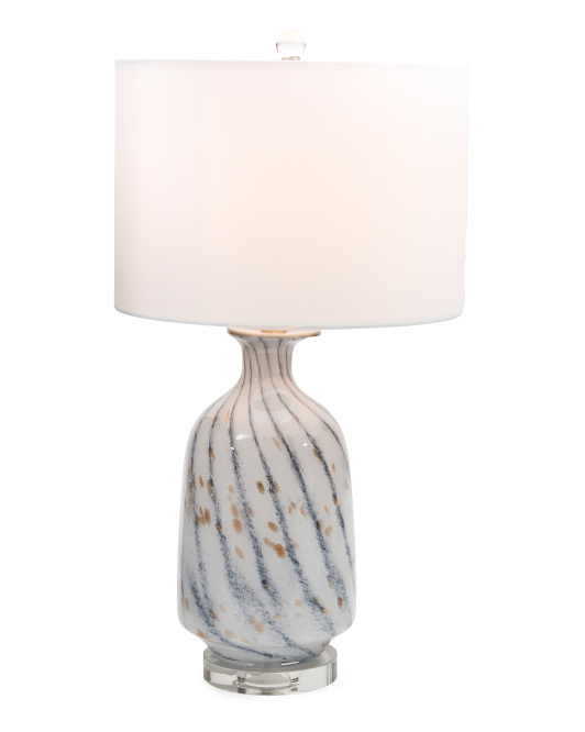 Glass Table Lamp With Crystal Base