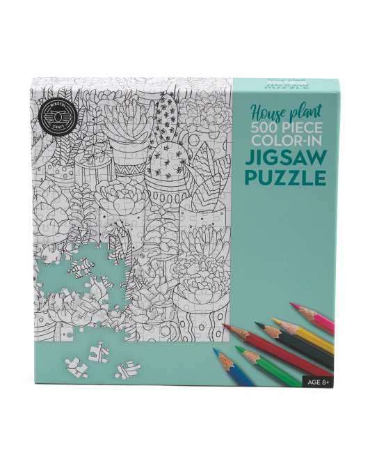 500pc House Plant Color-in Jigsaw Puzzle