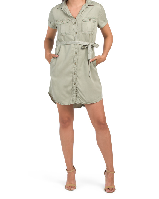 Short Sleeve Shirtdress With Curved Hem