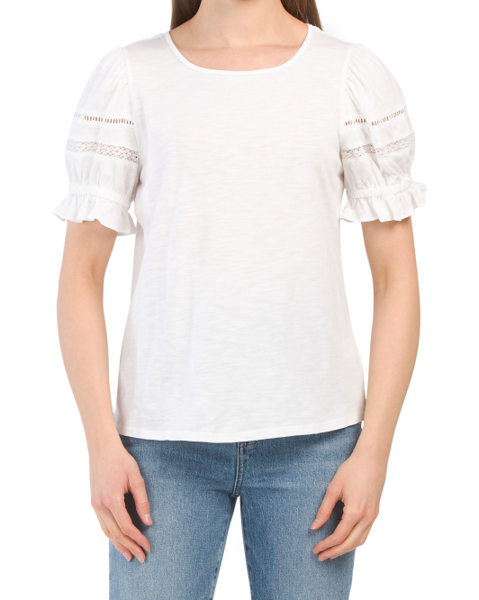 Puff Sleeve Tee With Trim Detail