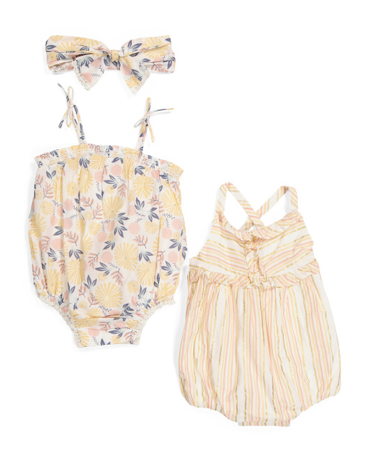 Infant Girls 3pc Floral Striped Bubble Romper With Headband Set