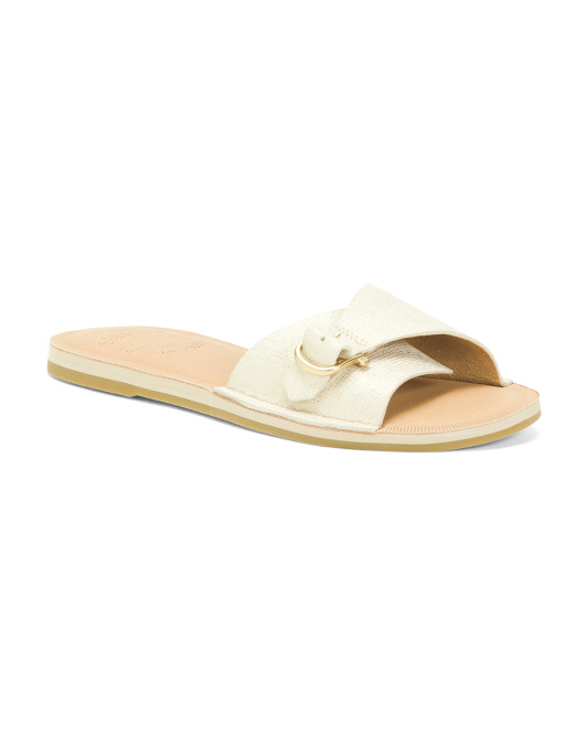 Leather Comfort Slide Sandals With Buckle Detail