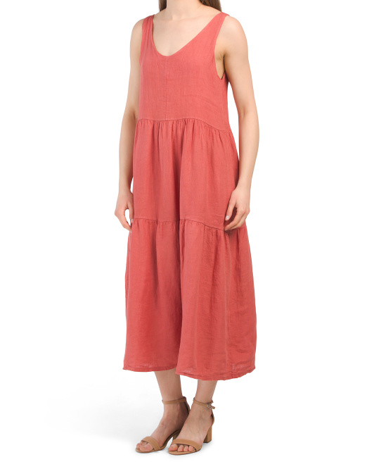 Made In Italy Double V Tiered Linen Midi Dress