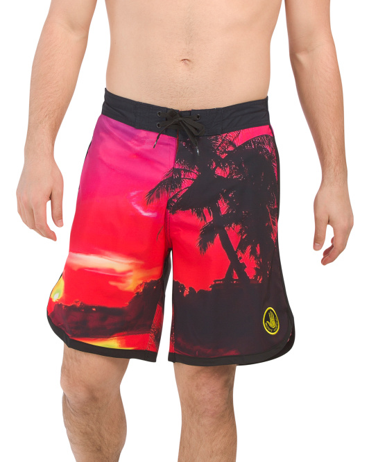 Sunset Neon Palm Eboard Shorts