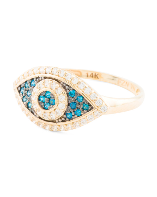 14k Gold And Cz Evil Eye Ring