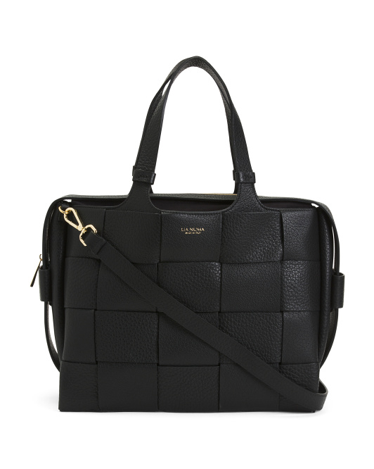 Made In Italy Leather Woven East West Triple Entry Satchel