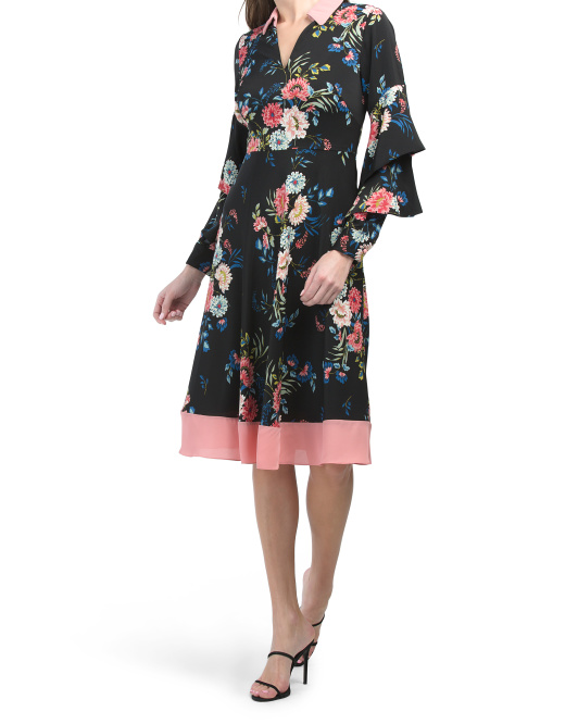 Tiered Sleeve Floral Shirt Dress