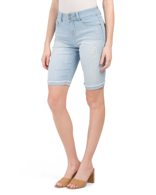 Hide Your Muffin 2 Buttons Fray Hem Bermuda Shorts