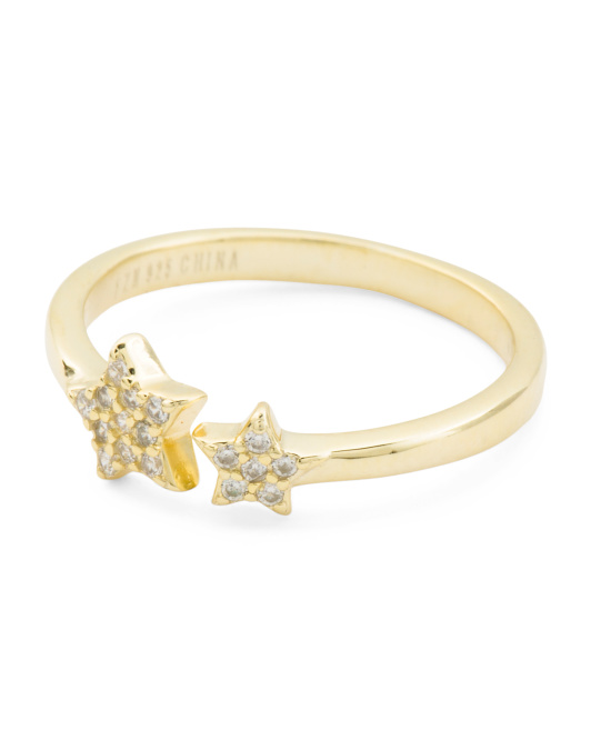 14k Gold Plated Sterling Silver Cz Stars Ring
