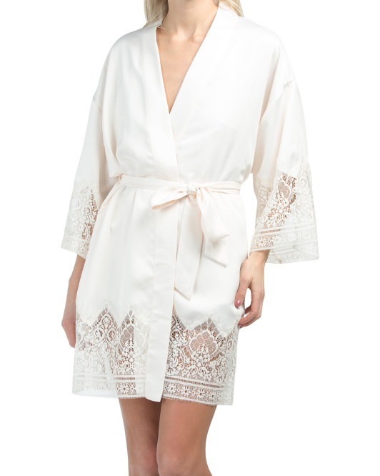 Genevieve Charmeuse Lace Sleep Romper