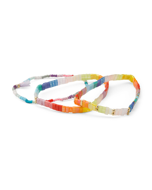 Set Of Three Rainbow Beaded Stretch Bracelets