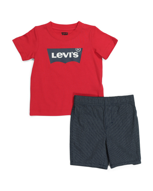 Toddler Boy Batwing Tee And Woven Short Set