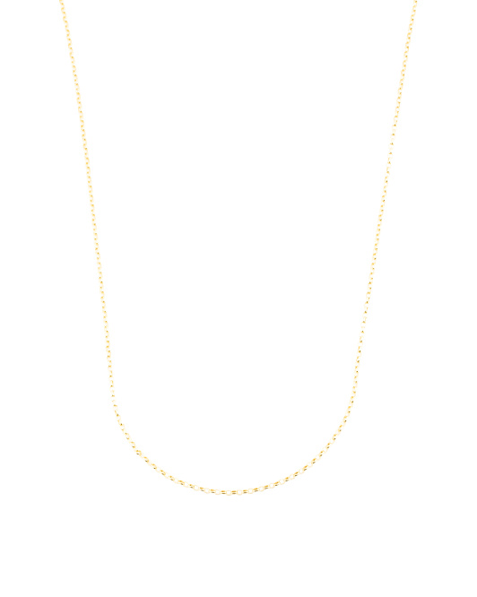 14k Gold Plated Sterling Silver Adjustable Rolo Chain Necklace