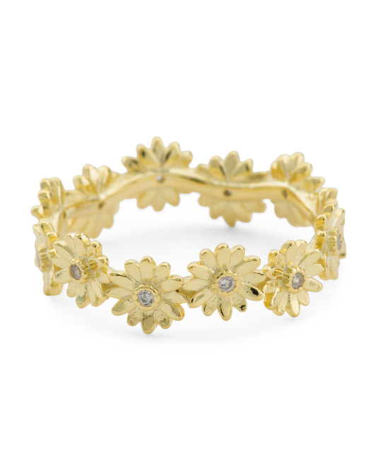 14k Gold Plated Sterling Silver Cz Flower Band Ring